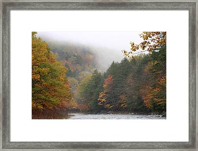 Westfield River Autumn Fog Framed Print by John Burk
