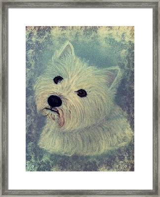 Westie Nostalgia Pastel Portrait Framed Print by Hillary Rose