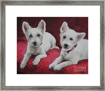 Framed Print featuring the painting Westies by Jindra Noewi
