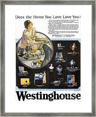 Westinghouse Ad, 1925 Framed Print by Granger
