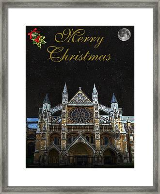 Westminster Abbey Merry Christmas Framed Print
