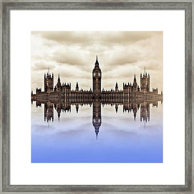 Westminster On Water Framed Print by Sharon Lisa Clarke