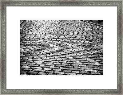 Wet Cobblestoned Huntly Street In The Union Street Area Of Aberdeen Scotland Framed Print by Joe Fox
