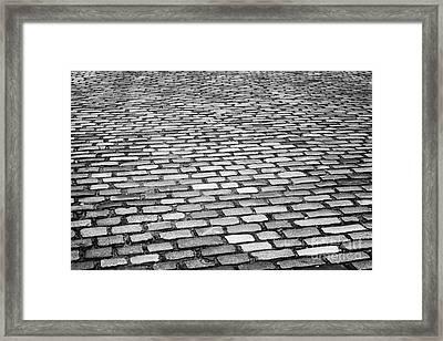 Wet Cobblestoned Huntly Street In The Union Street Area Of Aberdeen Scotland Uk Framed Print by Joe Fox