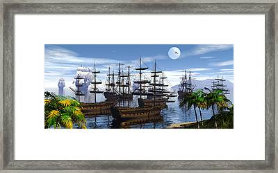 Whaling Off Lahaina 2 Framed Print by Claude McCoy