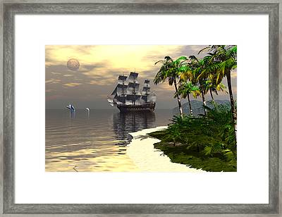 Whaling Off Lahaina Framed Print by Claude McCoy