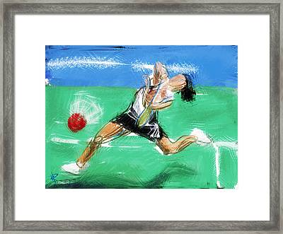 What A Racket Framed Print by Russell Pierce