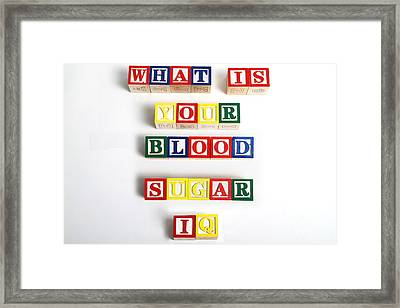 What Is Your Blood Sugar Iq Framed Print by Photo Researchers