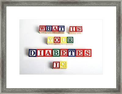 What Is Your Diabetes Iq Framed Print by Photo Researchers