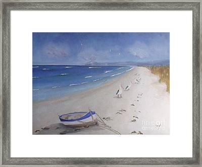 What's In The Boat Framed Print by Debra Piro