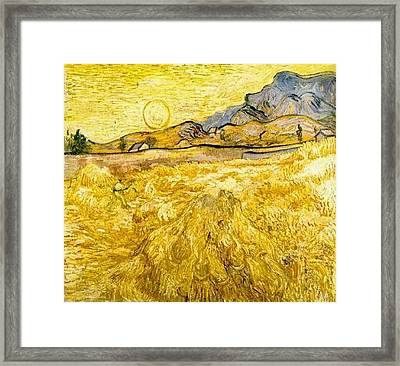 Wheat Field With Reaper And Sun Framed Print by Vincent Van Gogh