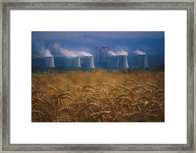 Wheat Fields And Coal Burning Power Framed Print