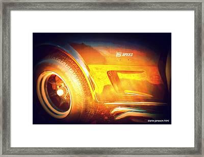 Wheel On Fire Framed Print by Diane montana Jansson