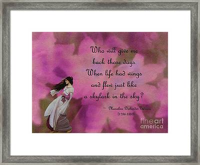 When Life Had Wings Framed Print