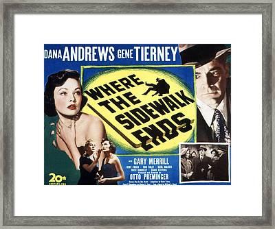 Where The Sidewalk Ends, Gene Tierney Framed Print by Everett