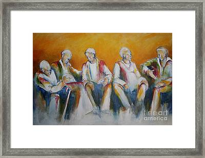 While The Women Shop Framed Print by Sandra Taylor-Hedges