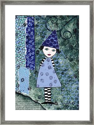 Whimsical Blue Girl Mixed Media Collage  Framed Print by Karen Pappert