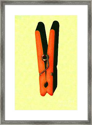 Whimsical Clothespin Pop Art . Painterly . Light Version Framed Print by Wingsdomain Art and Photography