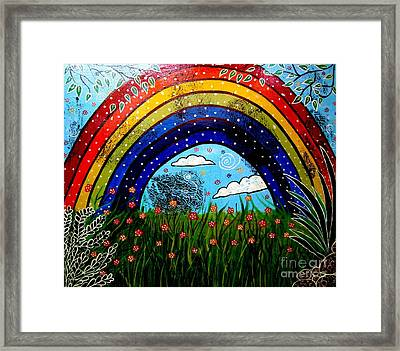 Whimsical Painting-whimsical Rainbow Framed Print by Priyanka Rastogi