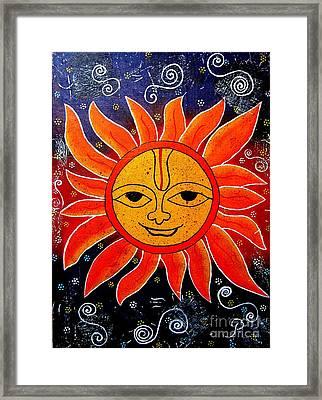 Whimsical Painting-whimsical Sun God Framed Print by Priyanka Rastogi