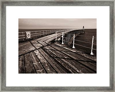 Whitby Pier  Framed Print by Stephen  Wakefield