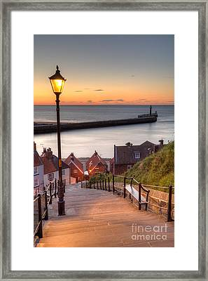Whitby Steps - Orange Glow Framed Print by Martin Williams