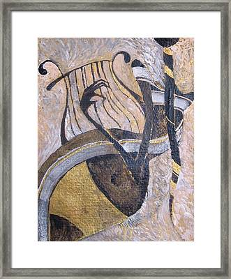 White And Gold Framed Print