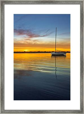 White Boat Framed Print by Debra and Dave Vanderlaan