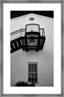 White Building And Stairs Framed Print