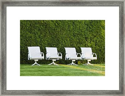 White Chairs On A Lawn Framed Print by Don Mason
