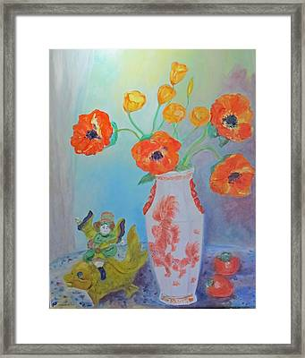 White China Vase With Poppies Framed Print