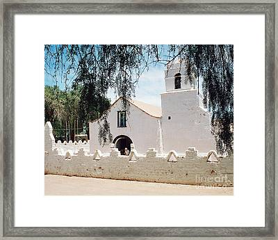 White Church In Chile Framed Print by Trude Janssen