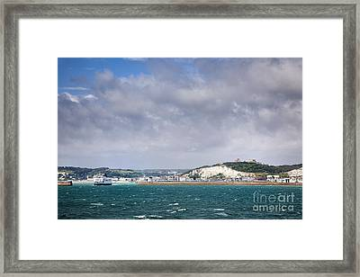 White Cliffs Of Dover And Port Entrance, England Framed Print