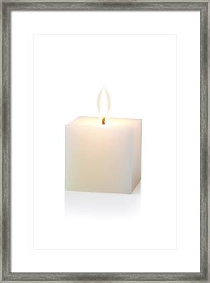 White Cubic Candle Framed Print