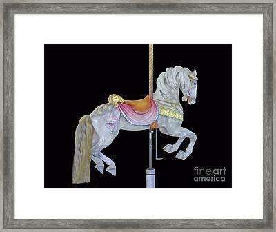 White Dappled Carousel Horse Framed Print