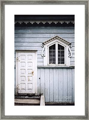 White Doors And Window On Bluish Wooden Wall Framed Print