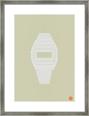White Electronic Watch Framed Print by Naxart Studio