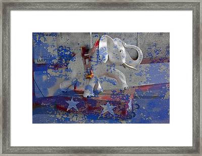 White Elephant Ride Abstract Framed Print