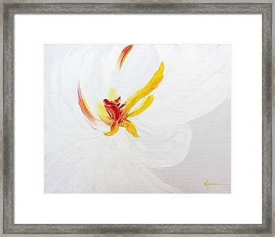 Framed Print featuring the painting White Flower by Kume Bryant