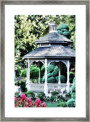 White Gazebo In Garden Paradise Framed Print