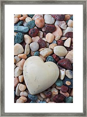 White Heart Stone Framed Print by Garry Gay