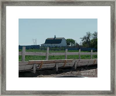White Hiproof Barn  Framed Print by Bobbylee Farrier