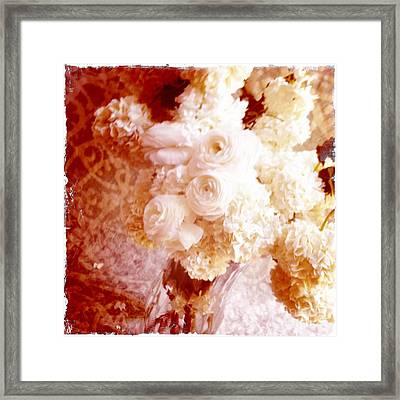 White Hydrangeas With Ranunculus Framed Print by Ruby Hummersmith