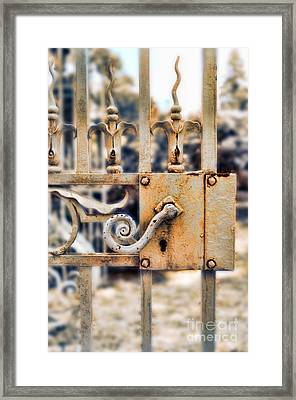 White Iron Gate Details Framed Print by Jill Battaglia