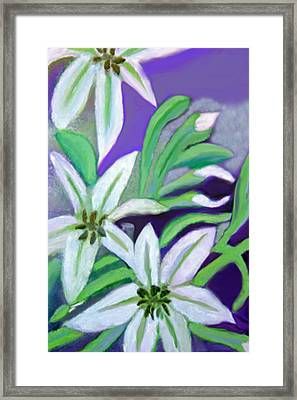 Framed Print featuring the painting White Lilies by Margaret Harmon