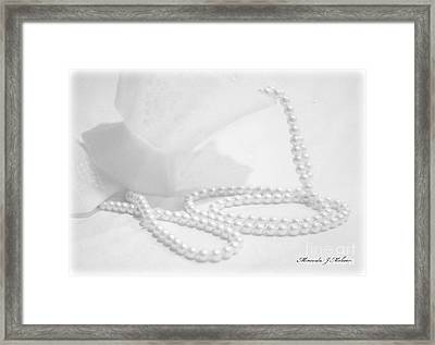White Framed Print by Miranda Mehrer