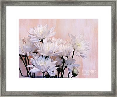 White Mums Framed Print by Marsha Heiken