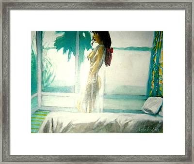 White Negligee Palm Tree Framed Print by Harry WEISBURD