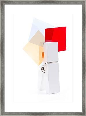 White Peg Holding Squares Framed Print by Simon Bratt Photography LRPS