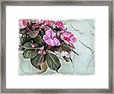 White Pot Framed Print by Joan  Minchak